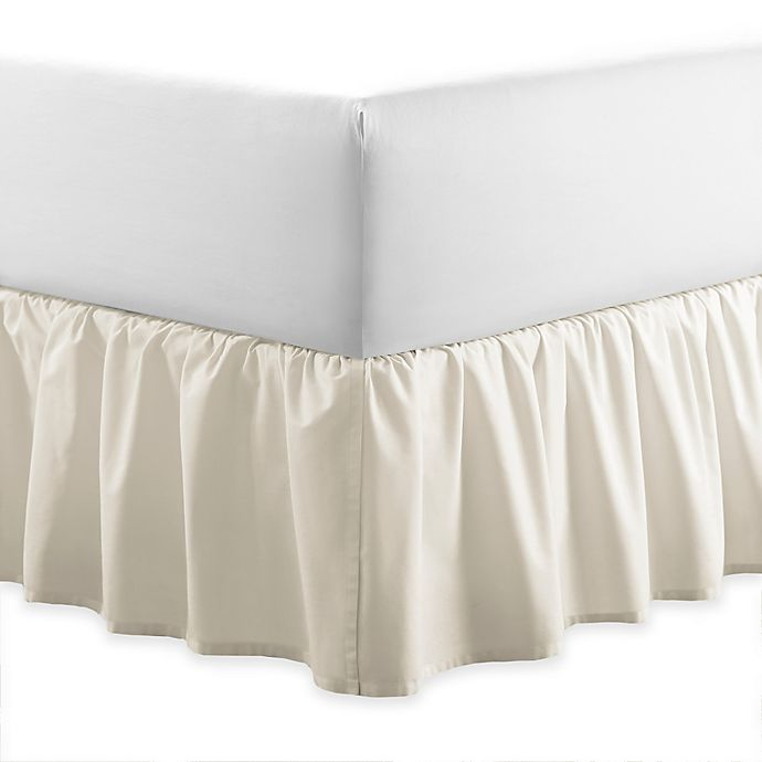Alternate image 1 for Laura Ashley® Ruffle Queen Bed Skirt in Light Beige