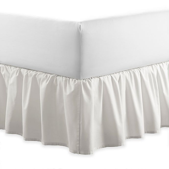 Alternate image 1 for Laura Ashley® Ruffle Queen Bed Skirt in White
