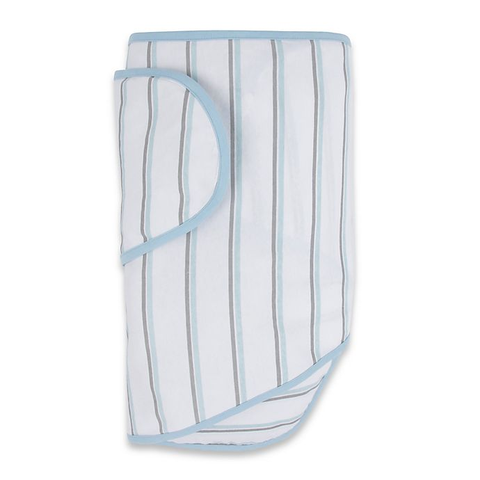 Alternate image 1 for Miracle Blanket® White with Blue and Grey Stripes