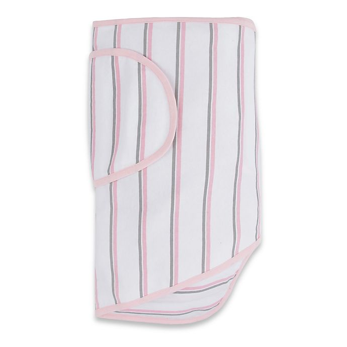 Alternate image 1 for Miracle Blanket® White with Pink and Grey Stripes