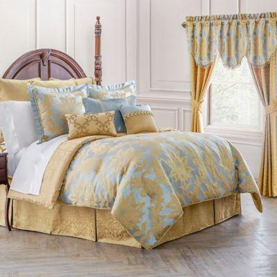waterford linens juliette reversible comforter set in blue gold bed bath and beyond canada. Black Bedroom Furniture Sets. Home Design Ideas