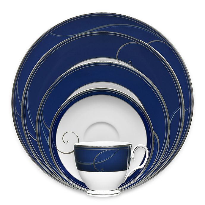 Alternate image 1 for Noritake® Platinum Wave Indigo Dinnerware Collection