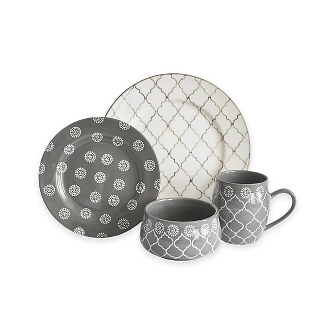 Alternate image 1 for Baum Moroccan 16-Piece Dinnerware Set in Grey/Ivory