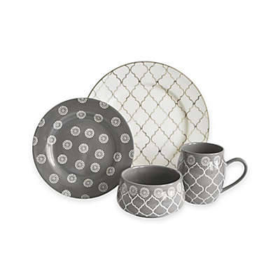 Baum Moroccan 16-Piece Dinnerware Set in Grey/Ivory