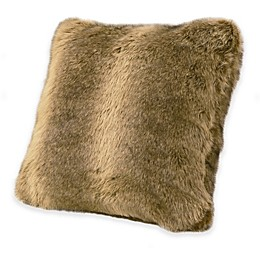 HiEnd Accents Faux Wolf Fur Throw Pillow