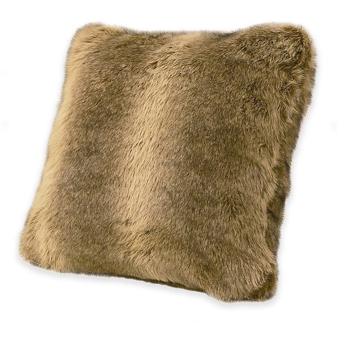 Alternate image 1 for HiEnd Accents Faux Wolf Fur Throw Pillow