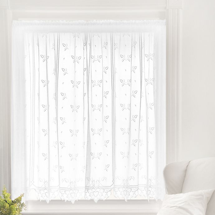 Alternate image 1 for Heritage Lace® Heirloom 45-Inch Sheer Window Curtain Tier in White