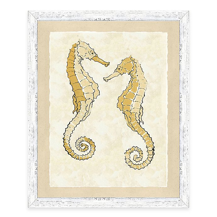 Alternate image 1 for Framed Giclèe Yellow Double Seahorse Print