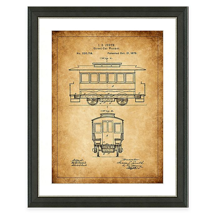 Alternate image 1 for Framed Giclée Street Car Heritage Patent Print Wall Art