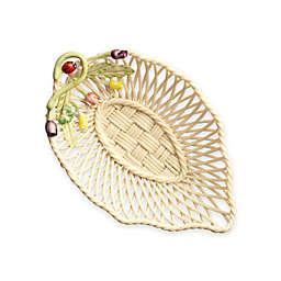 Belleek Rosebud Leaf Basket