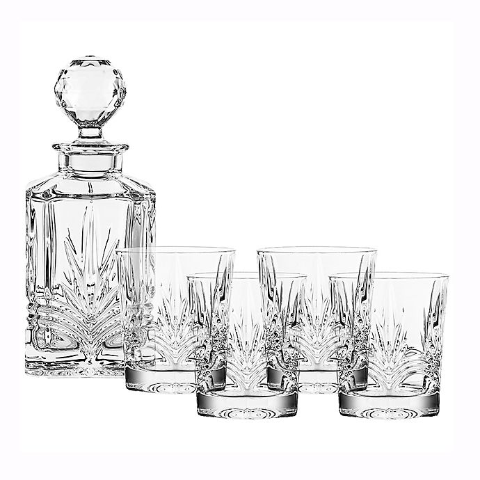 Belleek 5 Piece Galway Crystal Kells Decanter Set Bed