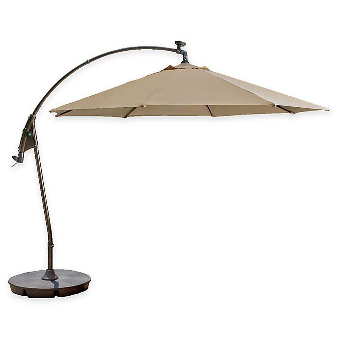 Alternate image 1 for 11-Foot Round Solar Cantilever Umbrella in Sunbrella® Beige