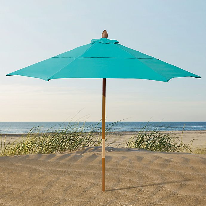Resort 7 3 4 Foot Wood Beach Umbrella In Light Blue