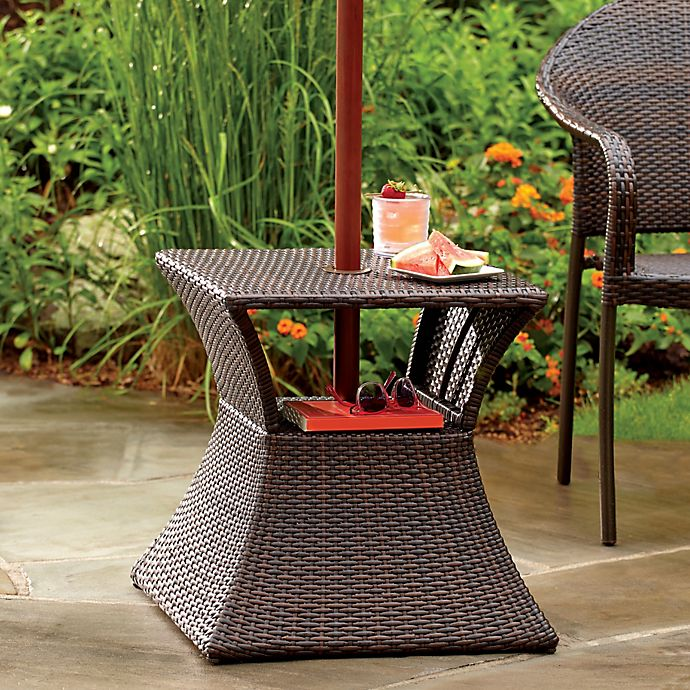 Stratford Wicker Umbrella Side Table | Bed Bath & Beyond