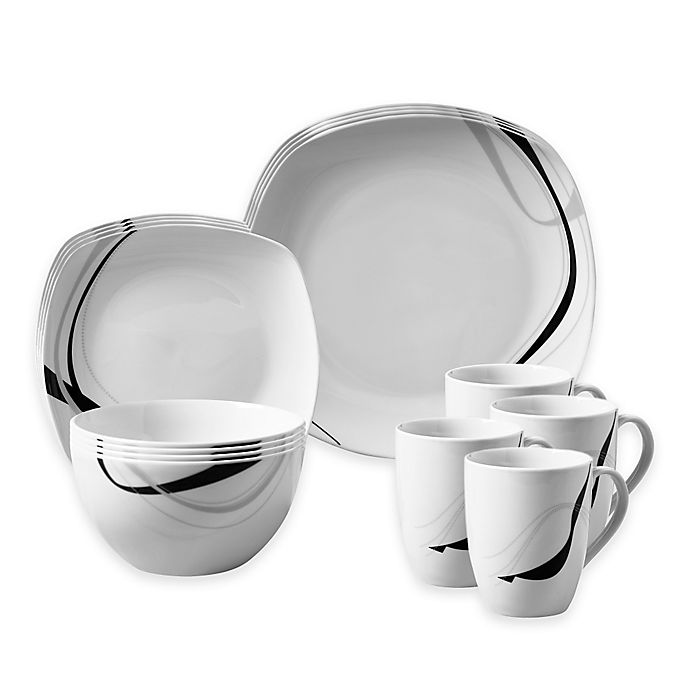 Alternate image 1 for Tabletops Gallery® Carnival 16-Piece Square Dinnerware Set