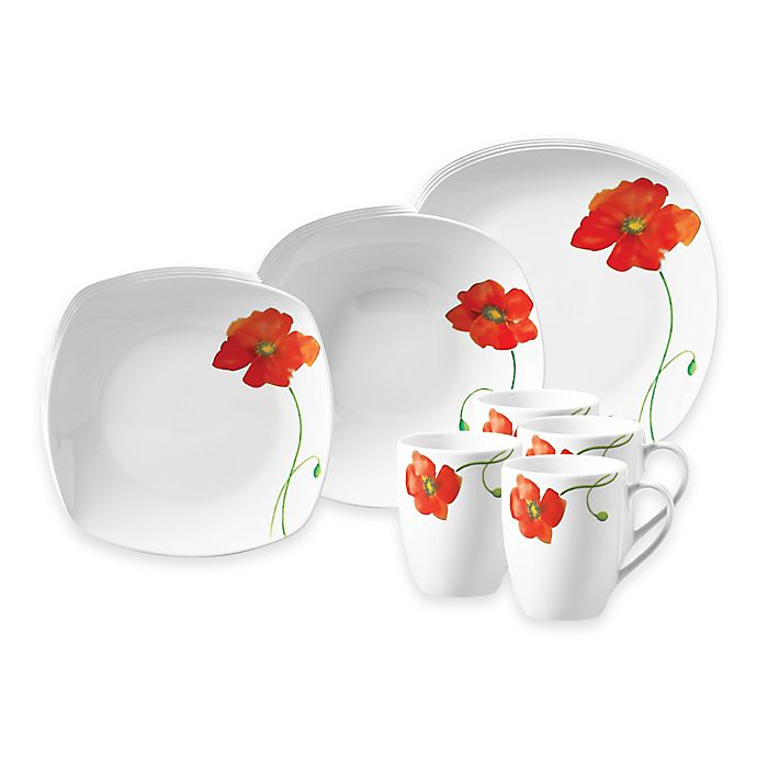Alternate image 1 for Tabletops Gallery® Poppy 16-Piece Square Dinnerware Set
