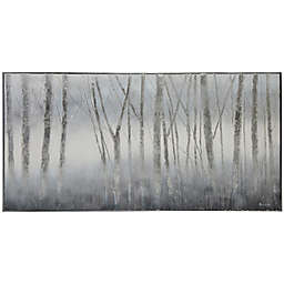 Mist Woods with Hand-Painted Silver Leaf 60-Inch x 30-Inch Framed Printed Canvas