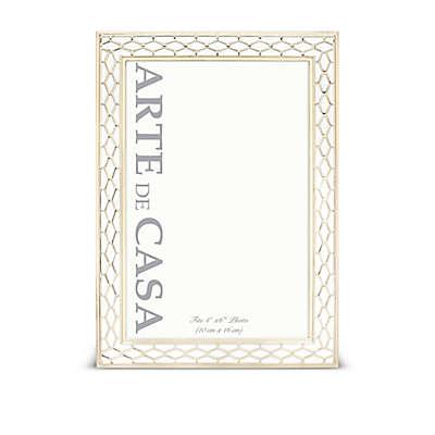 Arte de Casa 4-Inch x 6-Inch Honeycomb Enamel Frame in White/Gold