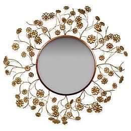32-Inch Gold Flower Mirror