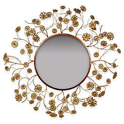 32-Inch Gold Flower Mirror