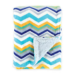 BabyVision® Hudson Baby® Double Layer Chevron Blanket with Sherpa Backing in Blue