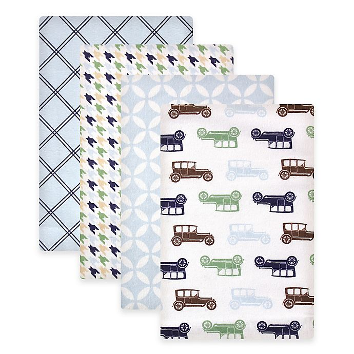 Alternate image 1 for BabyVision® Hudson Baby® 4-Pack Cars Flannel Receiving Blankets in Blue