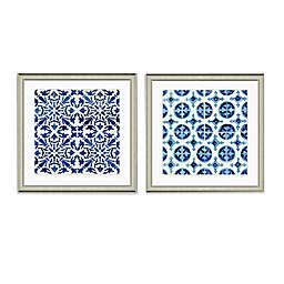 Blue Tile Pattern Framed Art Print