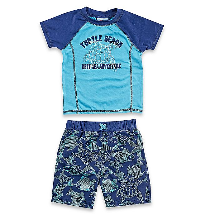 Alternate image 1 for Baby Buns 2-Piece Blue Turtle Rashguard Set