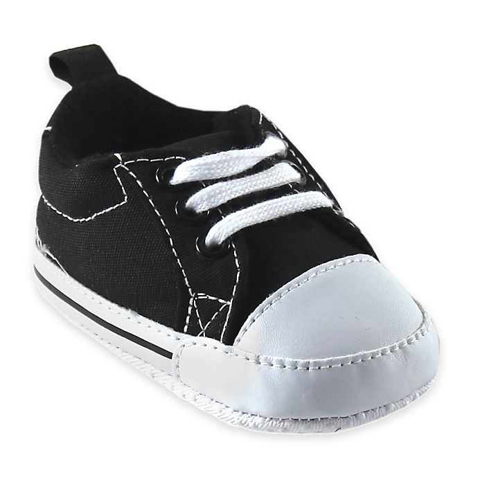 Alternate image 1 for Baby Vision® Luvable Friends™ Size 0-6M Basic Canvas Sneaker in Black