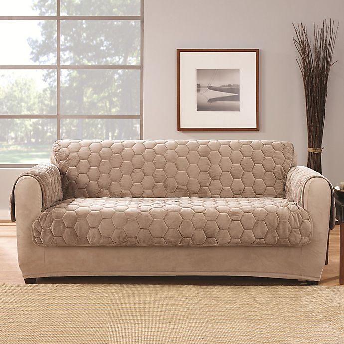 Alternate image 1 for Sure Fit® Silky Touch Loveseat Protector