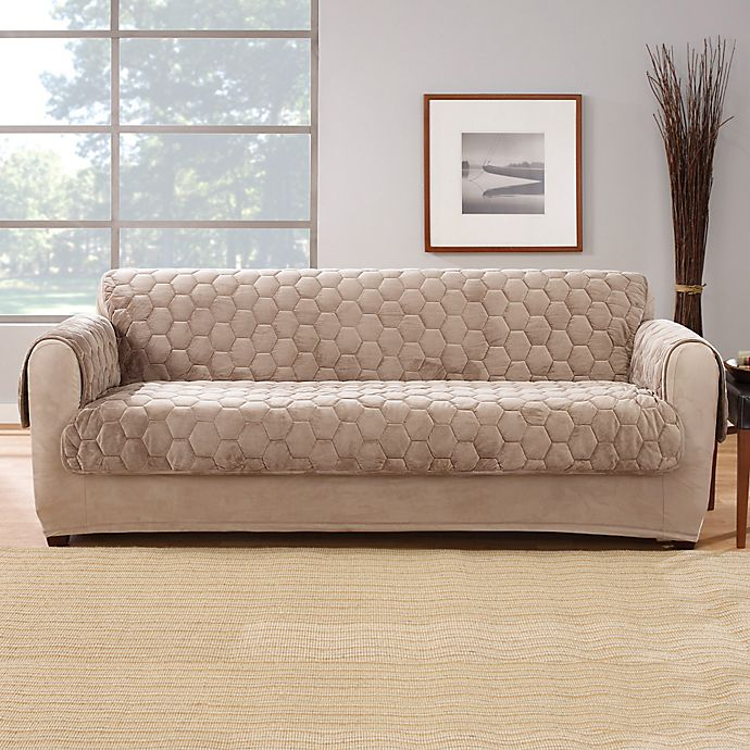 Alternate image 1 for Sure Fit® Silky Touch Sofa Protector in Taupe