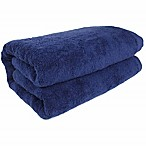 SALBAKOS Jumbo-Sized Turkish Cotton Bath Sheet in Navy
