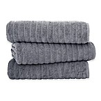Classic Turkish Towels Turkish Cotton Ribbed Bath Sheets in Grey (Set of 3)