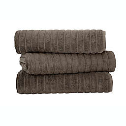 Classic Turkish Towels Turkish Cotton Ribbed Bath Sheets in Chocolate (Set of 3)