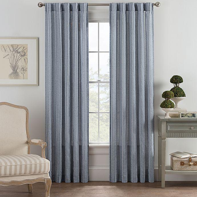 Alternate image 1 for Bayport Fringe 63-Inch Rod Pocket/Back Tab Window Curtain Panel in Blue