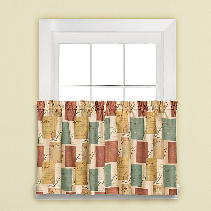 Alternate image 1 for Tranquility 36-Inch Window Curtain Tier Pair in Blue/Tan