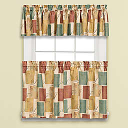 Tranquility Window Curtain Panel and Valance in Blue/Tan