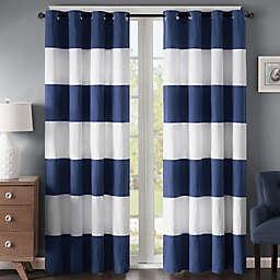 Regency Heights Parker Stripe 84-Inch Grommet Top Window Curtain Panel in Navy/White