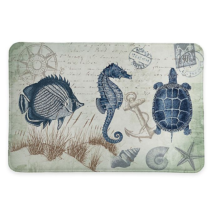 Alternate image 1 for Laural Home® 20-Inch x 30-Inch Seaside Postcard Memory Foam Rug