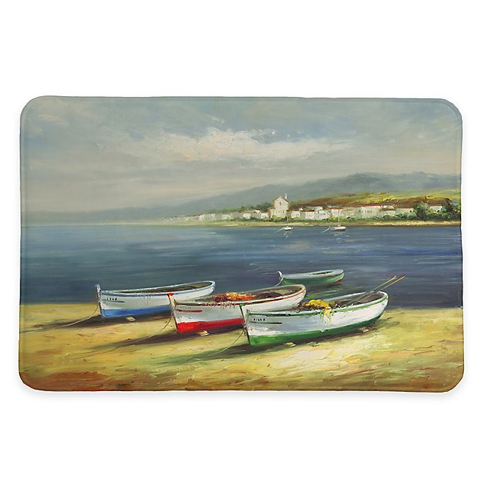 Alternate image 1 for Laural Home® 20-Inch x 30-Inch Boats on the Beach Memory Foam Rug