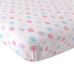 BabyVision® Luvable Friends® Knitted Cotton Crosshatch Dot Fitted Crib Sheet in Pink