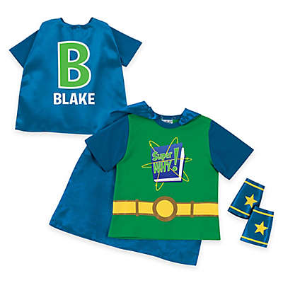 """""""Super Why!"""" Logo and Letter Super T-Shirt, Cape, and Cuff Set in Green"""