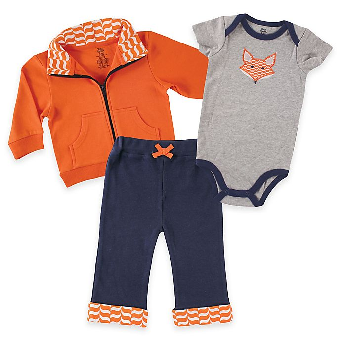 44cf849ea46ae4 Baby Vision® Yoga Sprout Size 9-12M Jacket, Pant, and Fox Bodysuit in  Orange / Navy / Grey