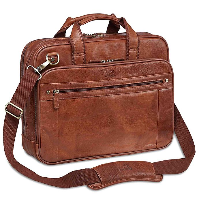 Alternate image 1 for Mancini Arizona 15.6-Inch Laptop Dual Section Leather Briefcase