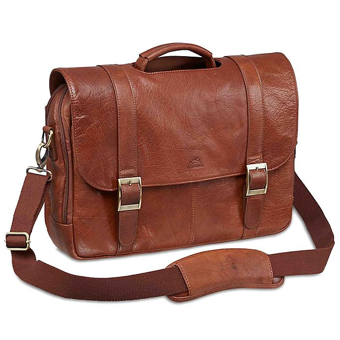 Alternate image 1 for Mancini Arizona 16-Inch Laptop Dual Section Leather Briefcase in Cognac