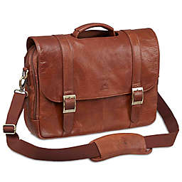 Mancini Arizona 16-Inch Laptop Dual Section Leather Briefcase in Cognac