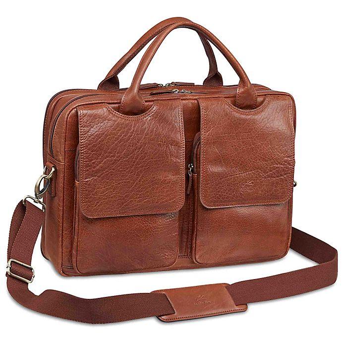 Alternate image 1 for Mancini Arizona Laptop Dual Section Leather Bag