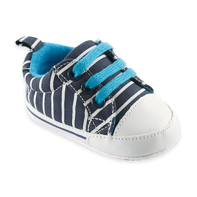 Alternate image 1 for BabyVision® Luvable Friends™ Basic Canvas Sneaker in Navy with White Stripes