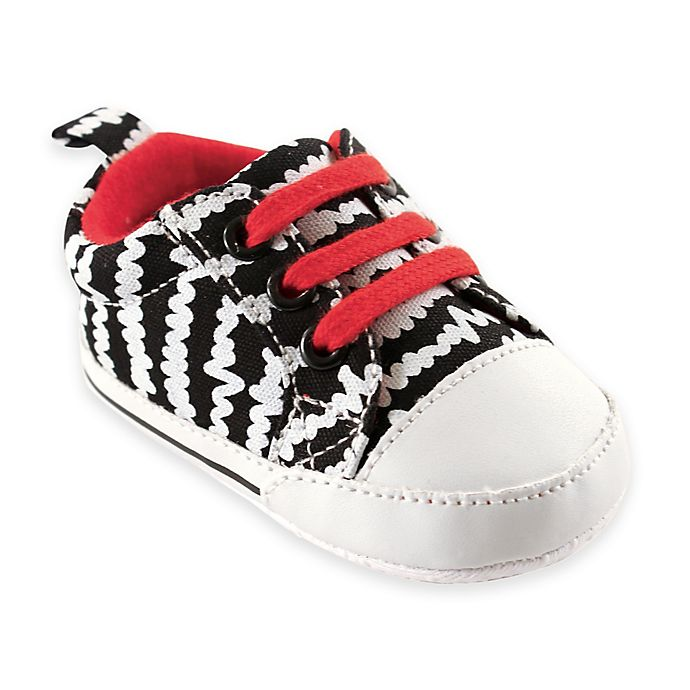 Alternate image 1 for BabyVision® Luvable Friends™ Print Canvas Sneakers in Black/White