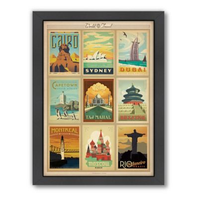 world travel multi print 2 framed wall art by anderson